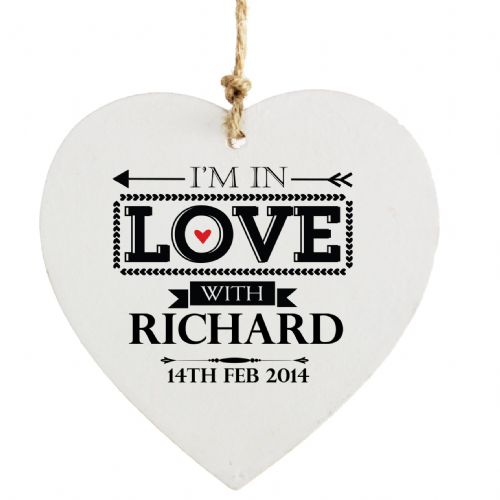 Personalised In Love With Wooden Heart